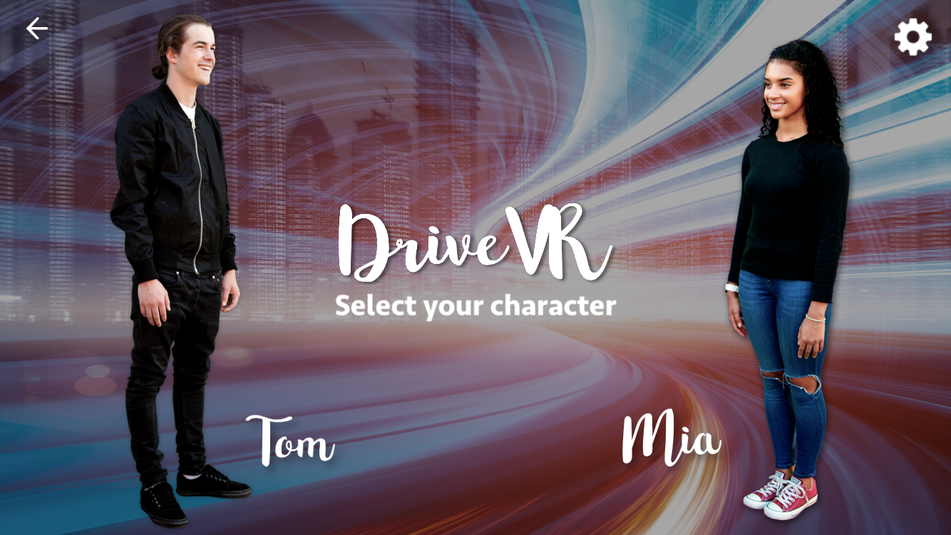 DriveVR Character Selection Screen